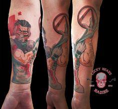 Arm in Arbeit #borderlands #drzed #ink #tattoo #gamertattoo #tattooitzehoe #luckyheadstattoo #itzehoe #fun #nofilter Borderlands, Head Tattoos