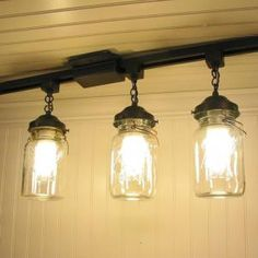 Vintage Canning Jar TRACK LIGHT Trio