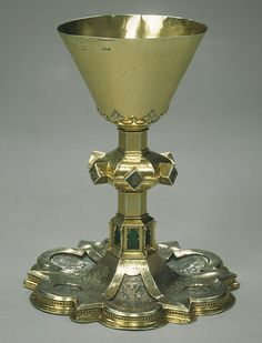 Chalice, ca. 1380. Spanish; Catalonia, Barcelona. Silver, silver gilt, and translucent enamel.