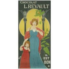 French Art Nouveau Period Chocolate Poster by Yor, circa 1890s