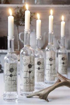 Knutselideeën..... :het gebruik van   flessen als kandelaren ! leuk zeg .
