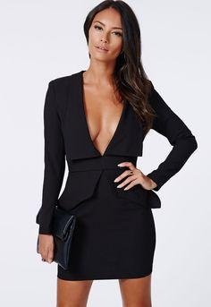 Deep V Neck Bodycon Black Dress