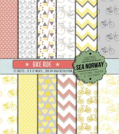 Digital paper with Bicycle Bike patterns digital by seanorway