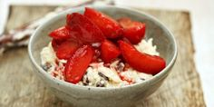 Cardamom rice pudding with spiced plums