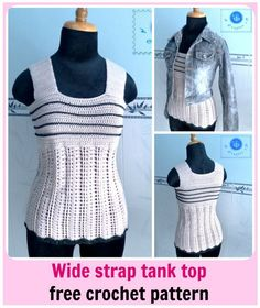 The Stylish Crochet Tank Top is the perfect top to have during the warmer months of the season. The wide strap gives it that classy look, yet still allows you to look chic. Wear this crochet pattern during the day for mall-walking or hanging at the b