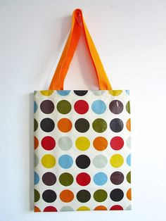 Library Tote / Shopping Bag in orange red by dotty spots Shopping Bag, Reusable Tote Bags, Orange Red, Trending Outfits, Unique Jewelry, House Styles, Handmade Gifts, Etsy, Products