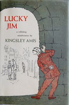 Book cover design by Edward Gorey for Lucky Jim: a Novel by Kingsley Amis. Garden City, N.Y., Doubleday, 1954.