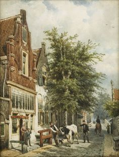 City Painting, Painting & Drawing, Watercolor Architecture, Medieval Life, Dutch Painters, Amsterdam, Great Paintings, City Landscape, Dutch Artists