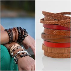 If you love to wear layers of jewelry, this Mix Me! - Jungle leather bracelet collection will be perfect for you! Bangles, Bracelets, Layers, Leather, How To Wear, Collection, Jewelry, Layering, Jewlery