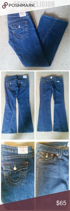 """🎁SALE True Religion Bootcut Flare Leg Jeans 🎁I'm currently running a BOGO 75% OFF sale. See listing at the top of my closet for details, rules and end date.🎁  Reduced from $65!  These jeans are in like new condition. There's no fraying. They're bootcut. They're unfortunately too small for me. 😢  When looking at measurements, consider that these sit low, so the waist needs to be a little larger than if they sat at the waist.  Here's the measurements: Waist: 35.5"""" Inseam: 33"""" Front Rise…"""