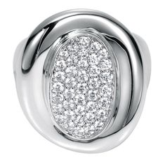 An 18k White Gold Contemporary Ring encrusted with diamonds.
