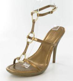 "Gala"" Bronze ladies formal shoe on 5 inch heels with 1 inch platform (Recessed Stones) (wears like 4"" heel)."