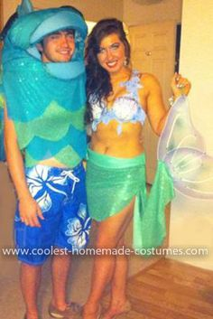 "Homemade Mermaid and ""Merman"" Couple Costume: For years my boyfriend Brady and I have brainstormed costume ideas and I have always created them. This year...MERMAIDS! Well, I was a mermaid and he was"