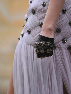 Alexander McQueen f/w 2011.Basket weave utilising chiffon & metal studs , Genius .!