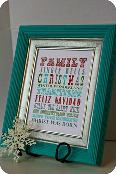 DIY Christmas Decor: Framed Subway Art! Free printables with over 12 different styles!