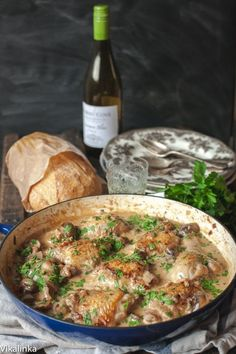Succulent chicken with cremini mushrooms cooked in white wine and a splash of cream. Coq au Chardonnay