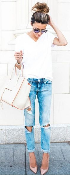 #winter #outfits /  white top + Distressed Skinny Jeans