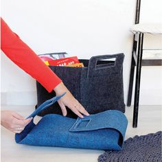 Large Felt Storage Bin  Modern Home Decor by hooknloopdesign, $32.00 NZD38.30 DETAILS: • Size: Width: 11.8in; Length: 11.8 ; Height: 9.8 in (30X30X25 cm) • Colour: Denim Blue • Material: Industrial Synthetic Felt • Each bin is cut from one piece of felt, and bound with a top stitch at the handle area to ensure durability. Made in Israel.  Can fold and store.