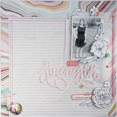 scrapbooking layout | your strength by kushi per Scrappiamo Insieme www.kkushi.com #scrapbooking #scrapboklayout #layout12x12 #cratepaper #silhouettecameo #blackandwhite