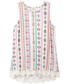 Jessica Simpson Girls' Printed Lace-Hem Tank Top