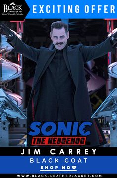 we present sonic the hedgehog character Dr. Ivo Robotnik black color wool blend coat which is worn by jim carrey now available in fair price …. Hedgehog Movie, Sonic The Hedgehog, Doctor Eggman, Mens Leather Coats, Sonic Heroes, 2020 Movies, Trench Coat Men, The Sonic, Jim Carrey