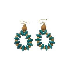 NOVICA Artisan Crafted Beaded Wood Dangle Earrings from Ghana ($20) ❤ liked on Polyvore featuring jewelry, earrings, dangle, turquoise blue, two tone earrings, wooden jewelry, wood jewelry, long beaded earrings and beaded hoop earrings