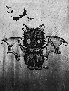 I've been thinking of drawing a bat/cat, and I ran across this illustration, which I think is fabulous. Kunst Tattoos, Body Art Tattoos, Dark Art Tattoo, Fantasy Kunst, Fantasy Art, Image Chat, Arte Horror, Illustration, Creepy Cute