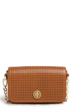 Adore the tan! Perforated leather crossbody by Tory Burch.