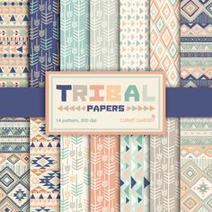 INSTANT DOWNLOAD 14 Tribal aztec Digital Papers Pack. (paper crafts,card making,scrapbooking) on Etsy, $4.30