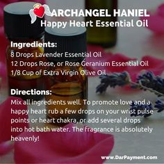Archangel Haniel Happy Heart Essential Oil. To promote love and a happy heart rub a few drops on your wrist pulse points or heart chakra, or add several drops into hot bath water. The fragrance is absolutely heavenly! #archangels