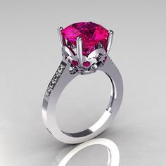 French Bridal 950 Platinum 3.5 Carat Pink Sapphire Pave Diamond Solitaire Wedding Ring R301-PLATDPS. $2,349.00, via Etsy.