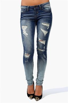 Ripped Blue Jeans #distressed #skinnys