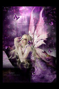 Photomanipulation Fantasy FAIRIES by babsartcreations on DeviantArt Foto Fantasy, Fantasy Kunst, Fantasy World, Magical Creatures, Fantasy Creatures, Fairies Photos, Fairy Pictures, Butterfly Fairy, Purple Butterfly