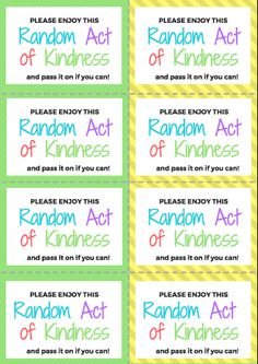 2018 Random Acts of Kindness Cards and Challenge