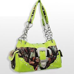 Lime Green Camouflage Western Buckle Purse - Super Cute! #ShoulderBag