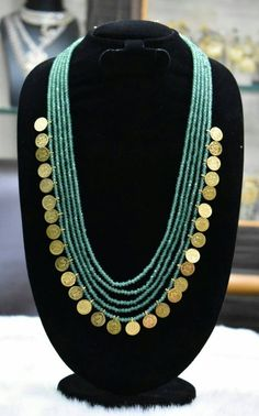 Beautiful green onex Mala with Laxmi idol coins.sutible every type on costume. Gold Earrings Designs, Gold Jewellery Design, Gold Jewelry, Necklace Designs, Beaded Jewelry Designs, Indian Wedding Jewelry, Fashion Jewelry, Costume, Choker
