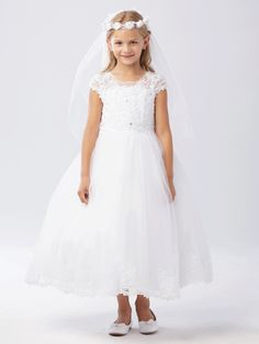 This Ankle Length First Communion Dress features a beaded lace bodice with cap sleeves. This first holy communion dress is fully lined tulle skirt with beautiful lace along the hemline. Shop Floor Length Lace First Communion Dresses for Sale Girls First Communion Dresses, Holy Communion Dresses, First Holy Communion, Tulle Dress, Lace Dress, Lace Bodice, Bodice Top, Flower Girl Tutu, Flower Girl Dresses