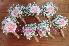 #boutonniere #weddings pink spray roses and baby breath, #rustic