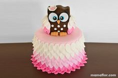 Fall Birthday Cakes, Owl Birthday Parties, Torta Baby Shower, Ladybug Cakes, Owl Cakes, Baby Girl Cakes, Fondant Animals, Edible Arrangements, Chocolate Art