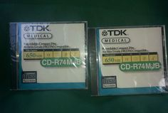 Up for your consideration are these 2 TDK medical recordable compact disc archive grade DICOM compatible 650 Mb CD-R74MJB. They are factory sealed.