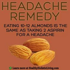 Natural remedy - keeping a headache/migraine diary is helpful, especially since some nuts may trigger a headache in some people