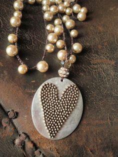 Pearl crochet necklace 'Dot My Heart' upcycled spoon by slashKnots, $148.00