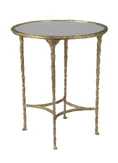 Palm Side Table - <p>Side table with brass cast 'palm' frame and mirrored inlaid top. </p>