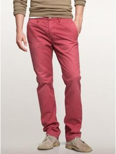 there's no need to break your budget over getting that perfect spring style. we love these red chinos from the gap for a casual look. paired with some loafers or a pair of sandals, a button down or a sweater. quite versatile and tres chic!