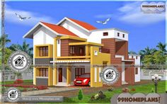 Bungalow House Plans Narrow Lot Two Storey Homes With Balcony Simple Bungalow House Designs, Modern Bungalow House Plans, Bungalow Floor Plans, Simple House Plans, Duplex House Plans, Two Storey House Plans, 2 Storey House Design, House Plans With Pictures, House Design Pictures