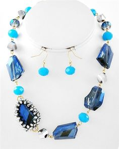 Like a spa day every day! This cool blue necklace set sparkles with ice-like stones and beads. SignatureStyle365.com