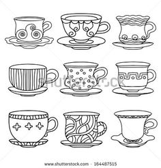 Tea cup, coffee cup, saucers, set simple sketch icon black line isolated on white background