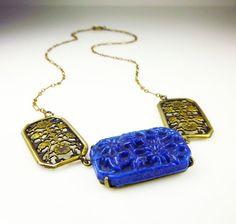 Art Deco Necklace Lapis Glass Gilt Filigree by zephyrvintage, $89.00