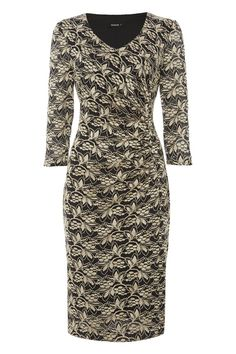 V-Neck Side Ruched Lace Dress at Roman Originals
