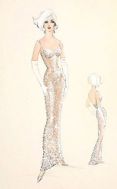 "Madison Square Garden, May 19th, 1962. Marilyn Monroe sang ""Happy Birthday Mr. President"" to John F. Kennedy. She was wearing a nude colored scandal designed by Jean Luis. Bob Mackie illustrated the design"